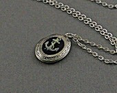 Antique Finished Silver Anchor Nautical Locket Necklace Long Chain