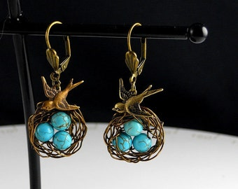 Bird Earrings, Earrings, Bird, Egg Nest Earrings, Vintage Inspired, Bird Nest Earrings
