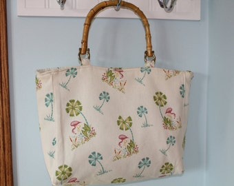 Tropical Palm Trees and Flamingo Purse With Bamboo Handles
