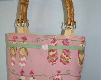 Pink And Yellow Flip-Flop Purse With Bamboo Handles