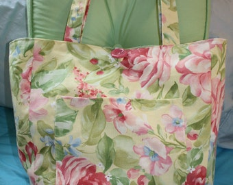 Large Yellow, Green, Blue, Pink and Salmon Floral Beach Tote