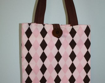 Small Pink And Brown Argyle Tote