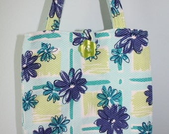 Small Blue, Aqua, Green and Purple Floral Tote