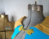 Reserved for H.A.P  - 1960's  Romantic Evening Medieval Feel Cloak  in Elven Blue and Mustard Yellow