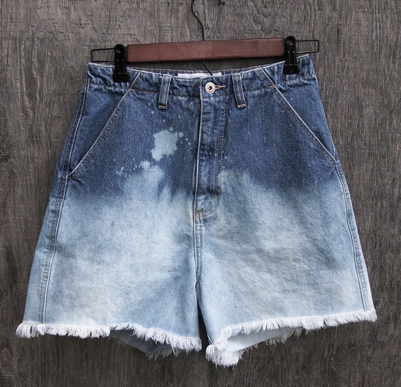 "SALE Grunge shorts vintage high waisted LA BLUES dip dye blue ombre bleached cut offs women's wide leg denim shorts 25"" waist"