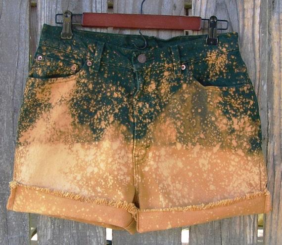 "1990s LEVIS 512 dark green denim cut offs / high waisted shorts / Upcycled / ombre and splatter bleached / festival shorts / 30"" waist"