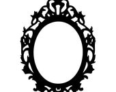 Vinyl Wall decal black Victorian style oval frame 30 x 21 inches in black (available in other colors)