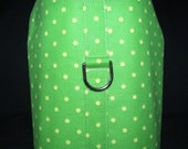 Dog Harness Vest - Green with Small Yellow Dots - Small