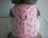Dog Harness Vest-Pink Ribbon-Small