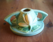Roseville Water Lily Candle Holder or Candlestick Holder - Aqua Art Pottery
