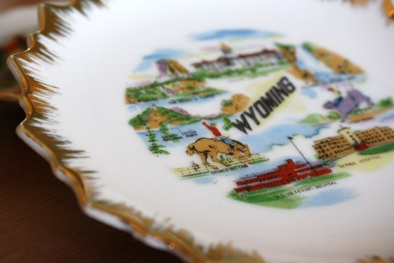 Wyoming State Souvenir Plate or Dish
