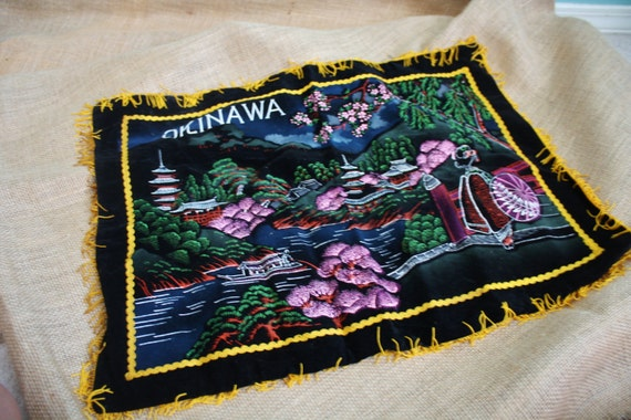 Black Velvet Okinawa Souvenir Pillow Cover - Painted Oriental Scene With Gold Finge
