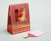 RESERVED - Chinese lantern. Blank greeting card / gift card pocket
