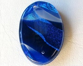 Fused Dichroic Glass Cabochon, Blue