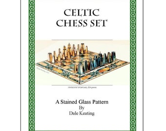 Stained Glass PDF E-Pattern Tutorial, Celtic Chess Set