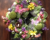 Bright, colorful deco mesh Spring or Easter Wreath