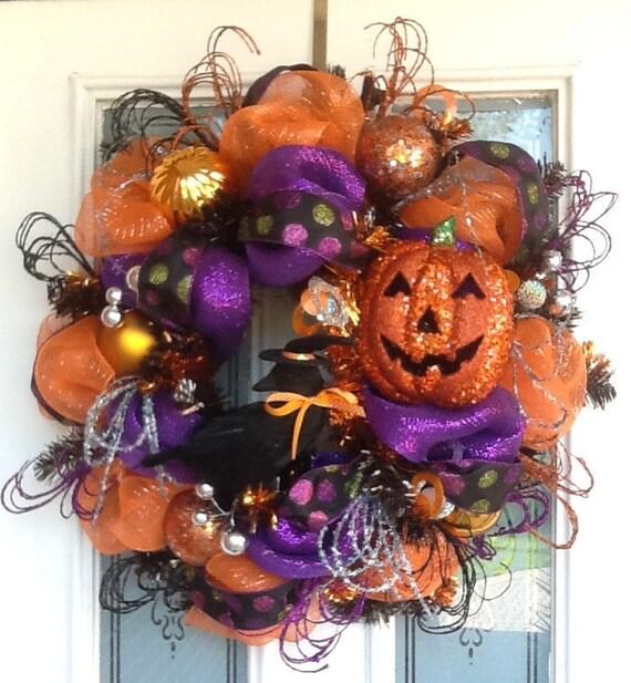 Glittery Orange Pumpkin and Crow Wreath