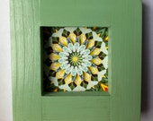 Mandala yellow green 3D original wood frame