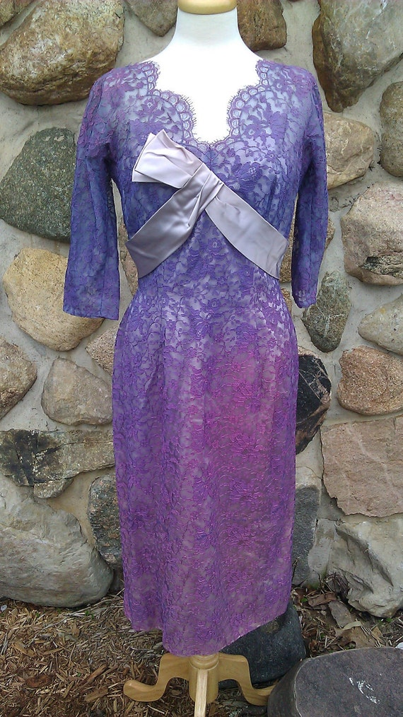 SALE 60s dress purple lace with dip dye pattern and sash SALE