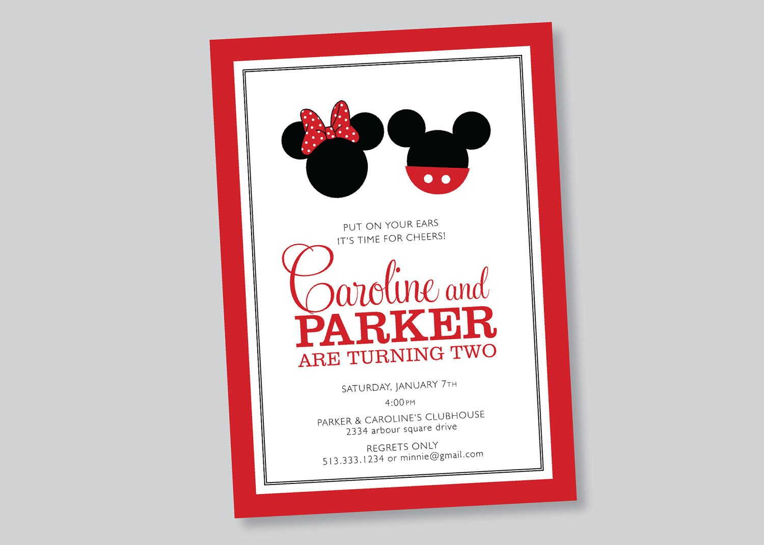 ... , Twin mickey minnie mouse birthday party by scallopedacorn on Etsy