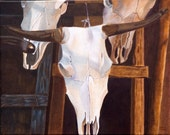 """Cow Skulls, Brown, Blue, White, ACRYLIC PAINTING, traditional southwest 16"""" x 20"""""""
