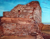 Indian Ruin,Watercolor,  Southwestern Pueblo,Where Spirits Walk - Card