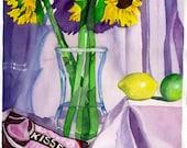"Sunflower Still Life, Chocolates, Kisses, Lemons, Limes, Yellow, Green, Brown, ORIGINAL WATRCOLOR PAINTING 18"" x 27"" Kitchen Art,"