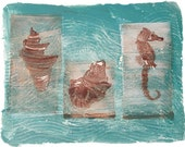 Ocean, Under Sea, Brown, White, Turquoise, Card from the  ORIGINAL MONOPRINT, Sea Horse, Conch Shell, Sea Creatures card