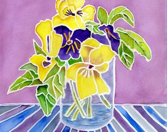 PANSIES, Watercolor Painting, All Occasion Card,  blue, yellow, green and purple, Mother's Day Gift, handmade