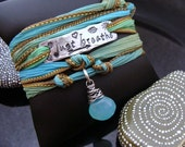 D2E inspirational quote Just Breathe hand stamped on Aluminum, silk wrap bracelet wire wrapped peruvian chalcedony..