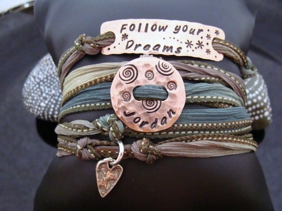 D2E hammered and hand stamped copper bar and recycled penny, silk ribbon wrap bracelet