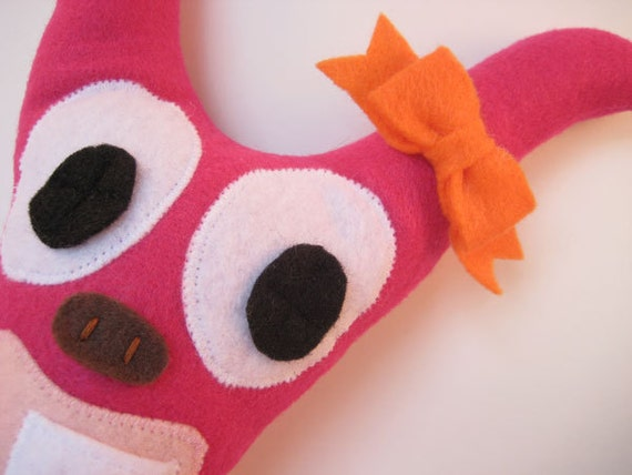 Girls Tooth Fairy Monster Pillow in Fuchsia Pink