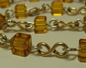 Wire Wrap Necklace, Gold Necklace, Silver Necklace, Gold Beads, Amber Beads, Chain Necklace, Glass Beaded Necklace