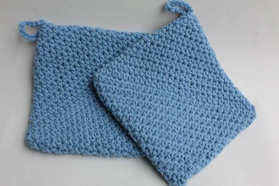 Light Blue, Double thick crochet pot holder, set of 2