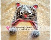 Here Kitty Kitty Crochet Earflap Hat PROP Photography - Sizes Newborn to Adult by AngelsChest