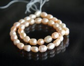 HY0002 - Full strand of freshwater PEARL beads, approx 38 pieces, rice, soft pink, peach, about 7-8mm long