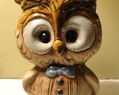 RESERVED for Jenny - Adorable Vintage Owl Planter with Big Eyes and Bowtie, Scholar / Grad