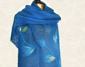 Rich blue hand knitted shawl felted flowers, soft mohair and felted merino wool application