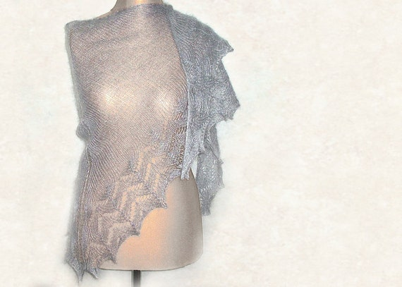 Silver mist hand knitted lace shawl silver grey luxurious in silk and mohair a perfect wrap for a woman