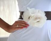 Cream / ivory /champagne organza flower brown wedding dress belt /sash