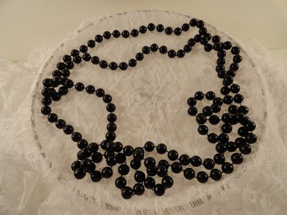 Extra Long Black Plastic Beaded 80s Necklace
