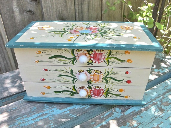 Vintage Wooden Box with Drawers Hand Painted