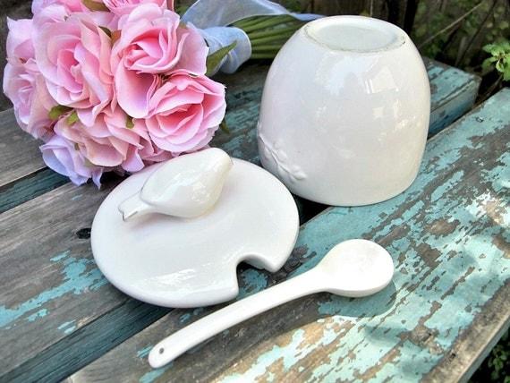 Vintage Jam Pot Porcelain Honey Pot with Bird