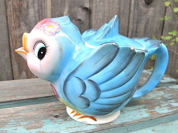Vintage Lefton Bluebird Teapot 1950s Collectible