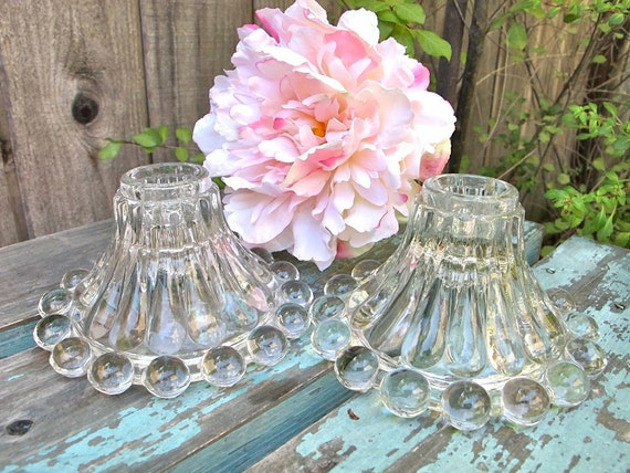 Vintage Anchor Hocking Bubble Boopie Glass Candleholders Hobnail Imperial Epsteam