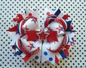 RESERVED Red, White, Blue, Patriotic, 4th Of July, Stars And Stripes, Polka Dot Boutique Hairbow -Ready To Ship-