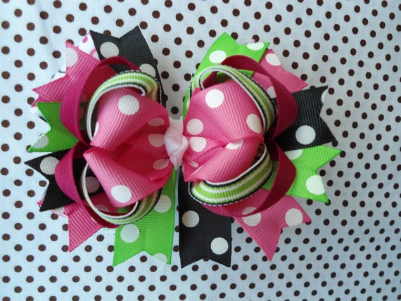 SALE Summer Polka Dot, Pink-Green-Black-White Boutique Hairbow -Ready To Ship-
