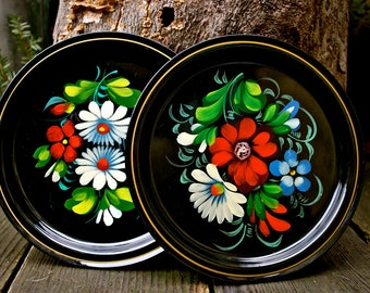 Hand Painted Set of Two Metal Plates