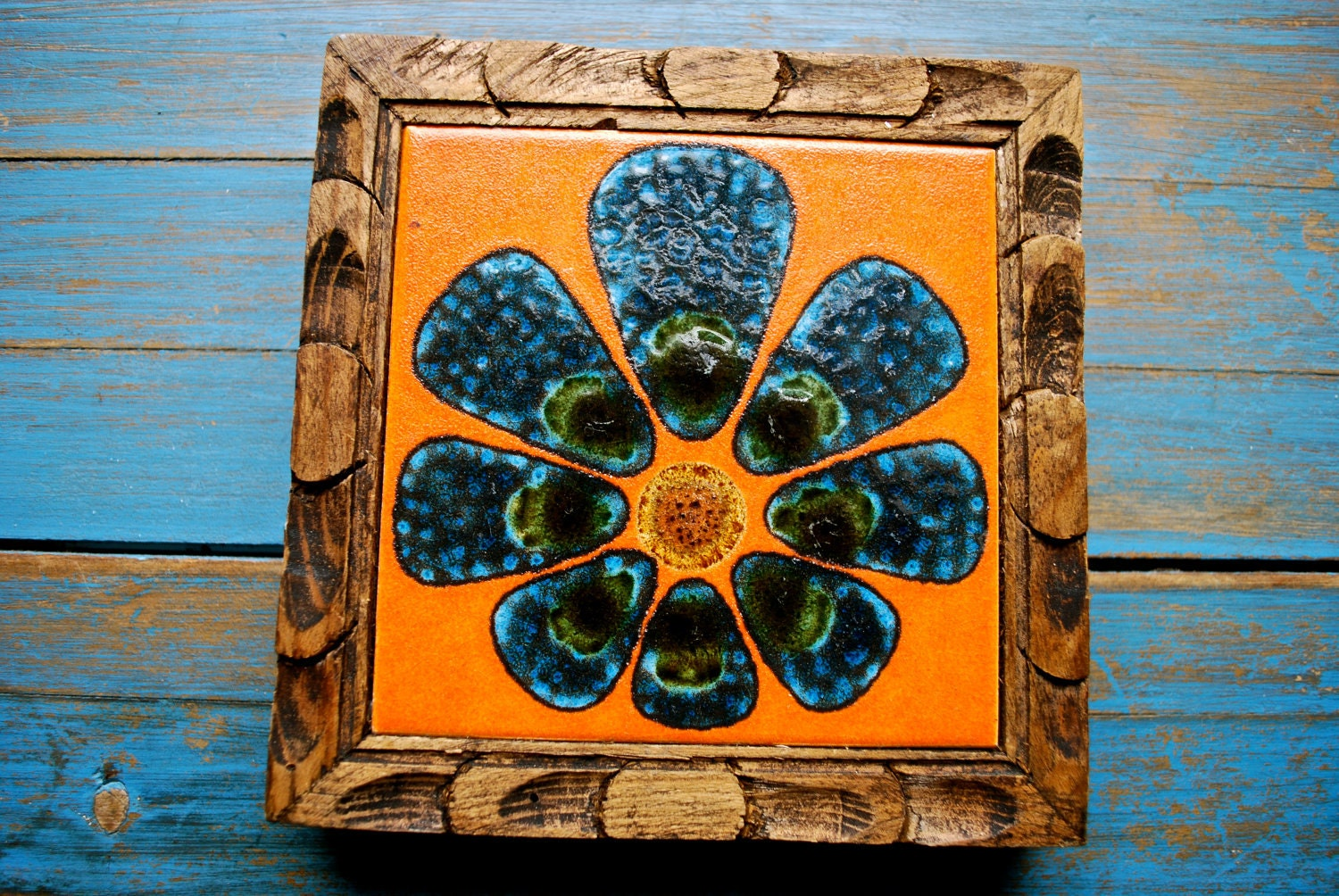 Vintage Ceramic Tile Trivet Orange Flower By Chickenlotto