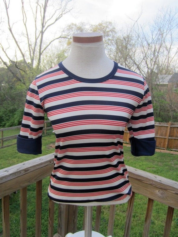 Vintage 1960's, 1970's Red, White, and Blue Striped Short-Sleeve Mod Top XS, S